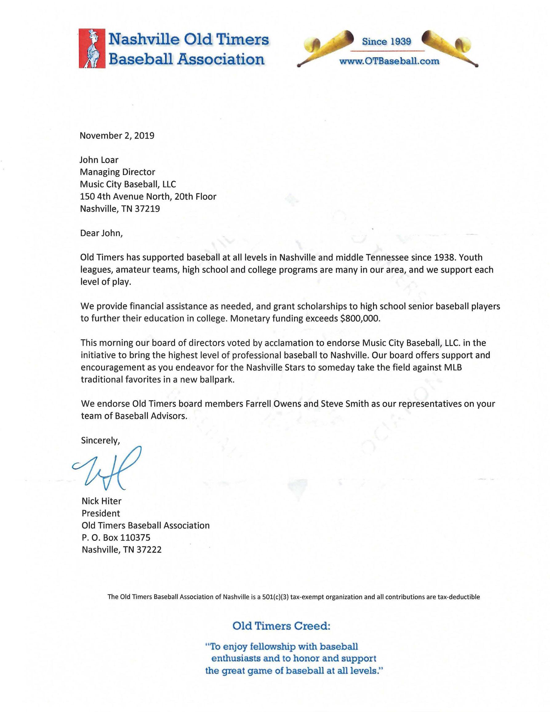Nashville Old Timers Baseball Association Letter