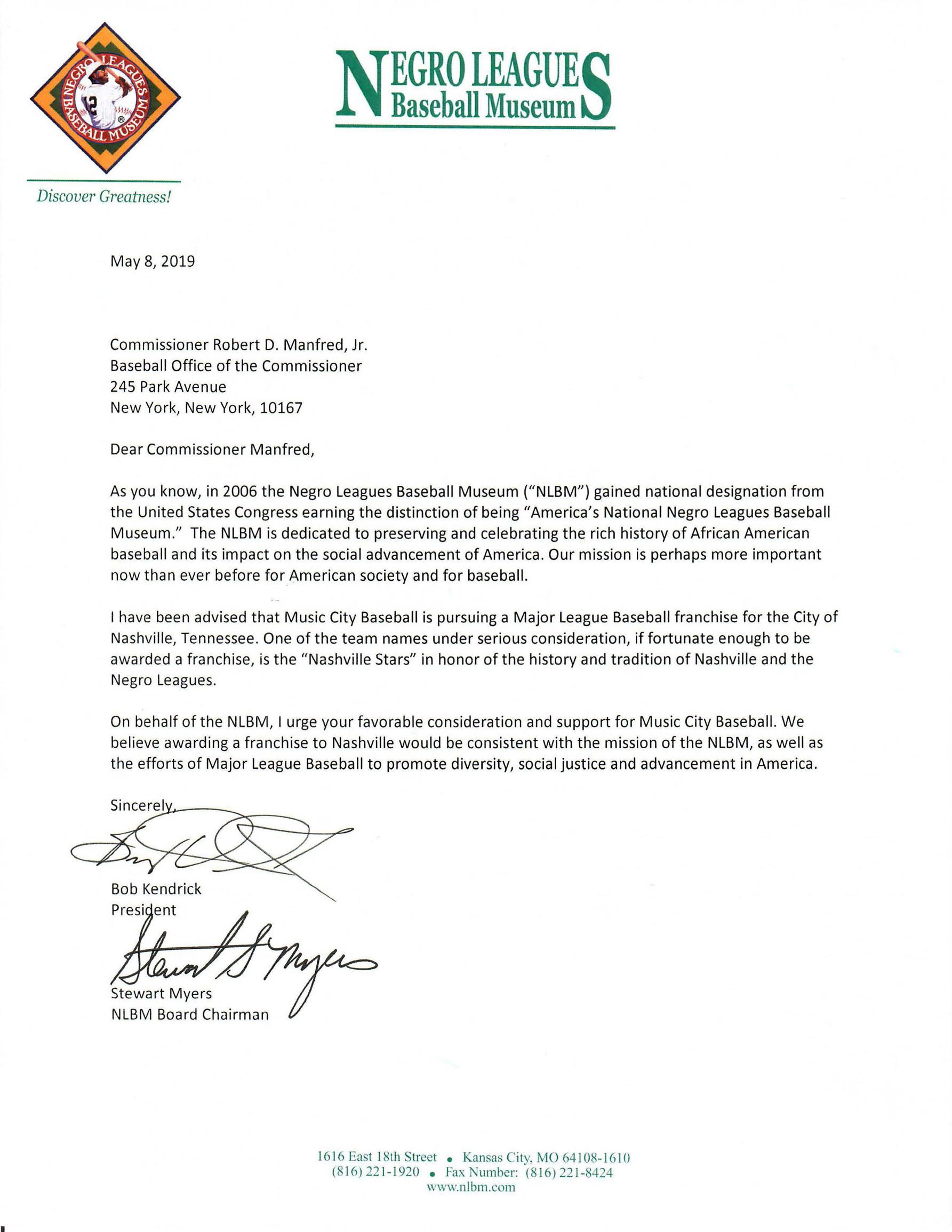 Negro Leaques Baseball Museum Letter